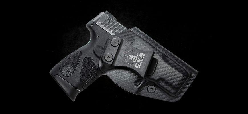 Black gun in black background