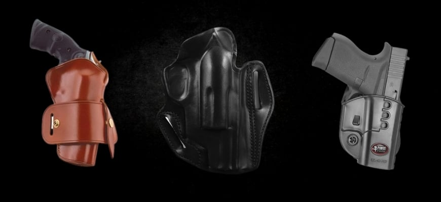Three guns in black background