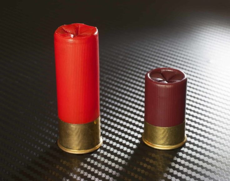 Twelve gauge ammunition of different lenghts next to each other