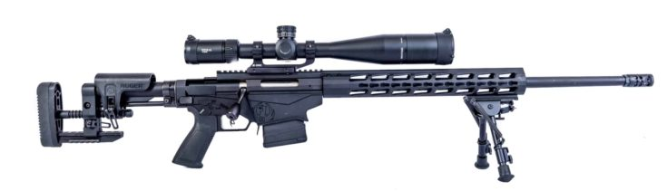 Winneconne - 2 May 2018: A Ruger precision rifle with a Vortex scope on an isolated background.