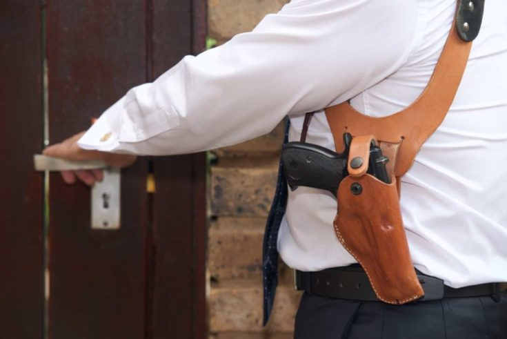 Bodyguard with gun opens the door