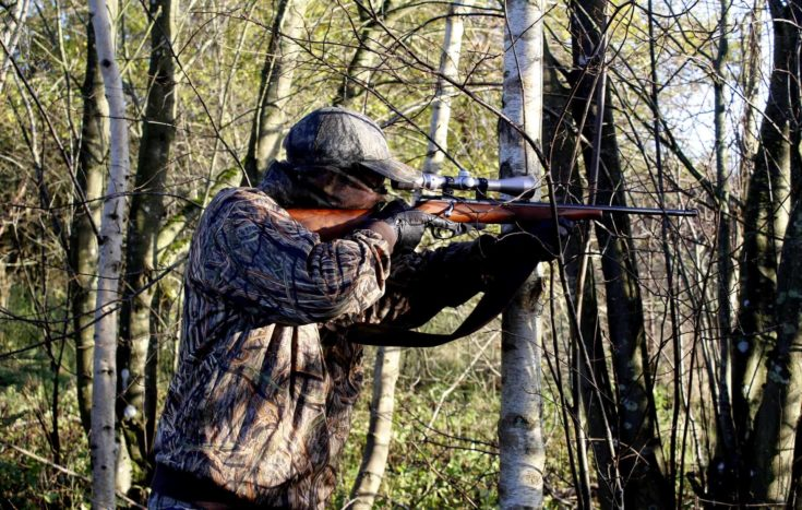 Hunter on his rifle targeting a prey in the woods.