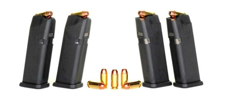 Loaded High Capacity Handgun Magazines and Bullets