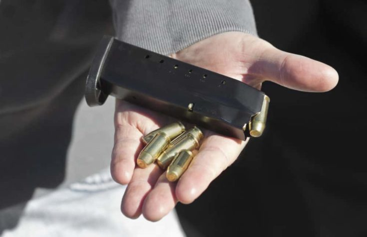 Bullets and ammunition cartridge on top of man's hand.