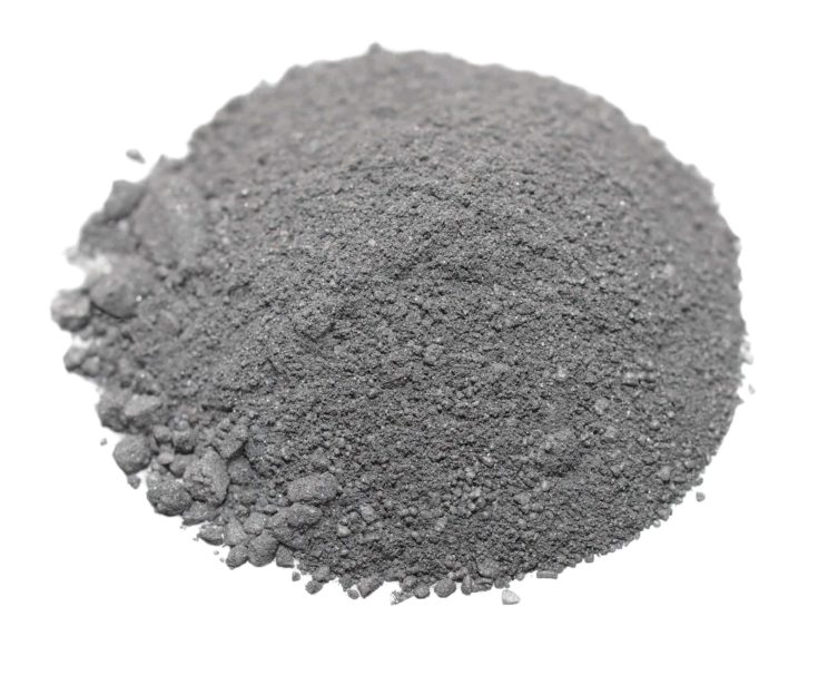 Black gun powder isolated in white background.