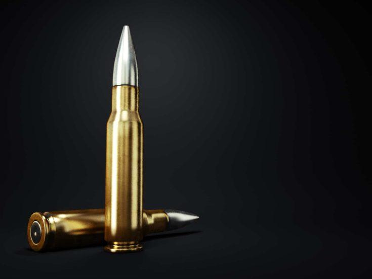 Bullets. On a dark background. 3d render.