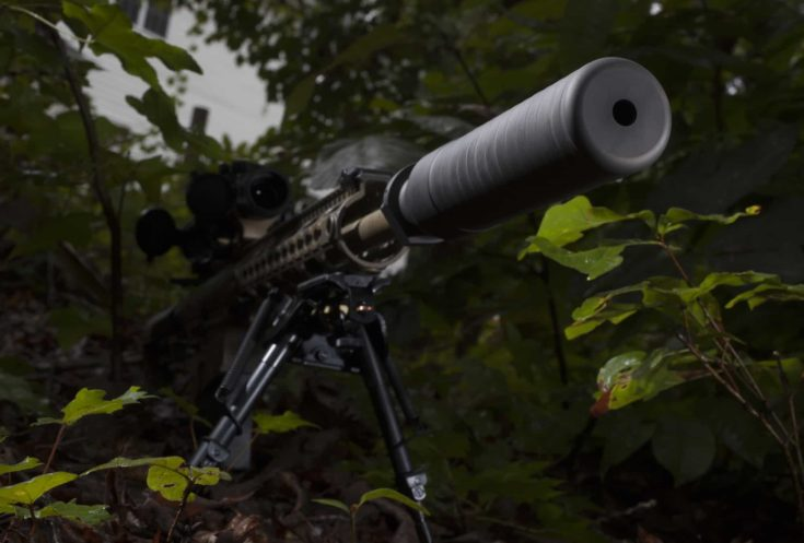 Suppressor and rifle in a forest as darkness is about to fall