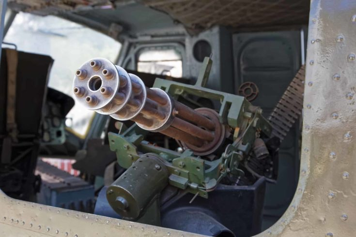 The M134 Minigun mounted inside a Huey helicopter at the War Remnants Museum in Ho Chi Minh City Vietnam Asia