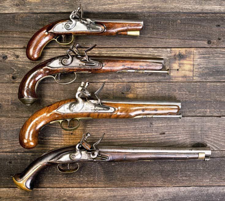 I8th Century flintlock pistols.