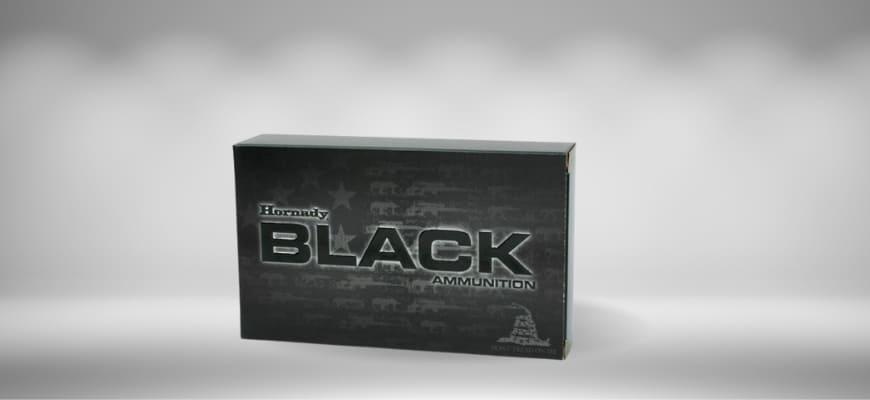 Hornady BLACK Ammunition black in gray background.
