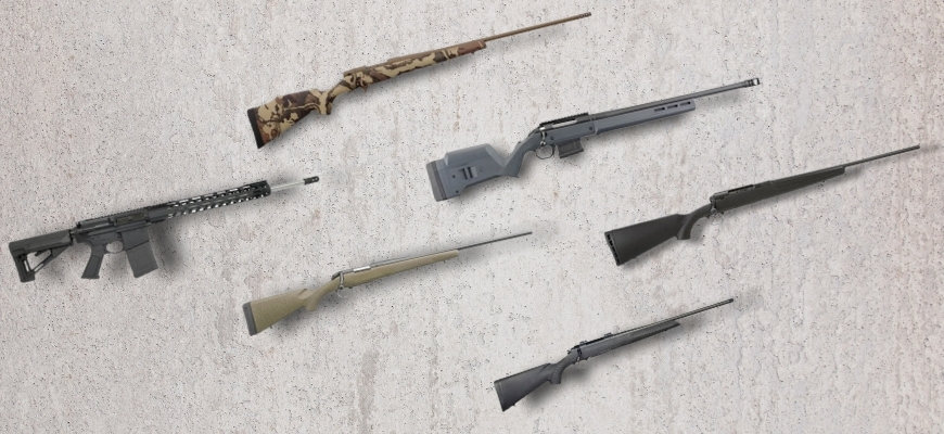 Different types of 6.5 creedmoor rifles in a marble background.