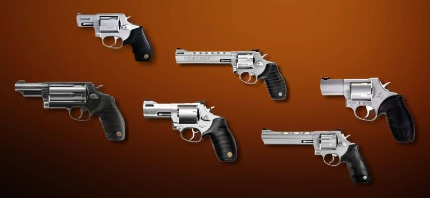 Taurus Revolver guns in brown background