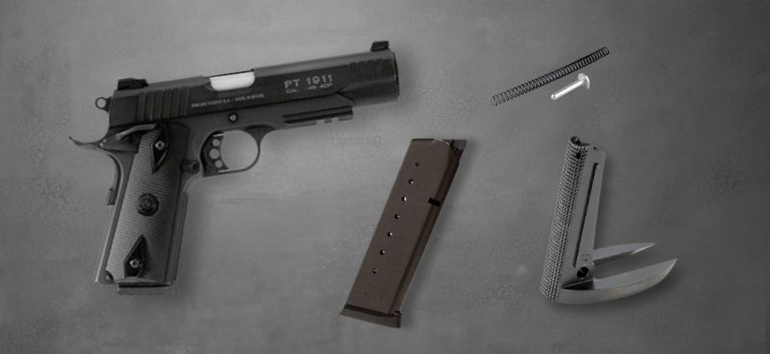 Taurus 1911 accesories in gray background