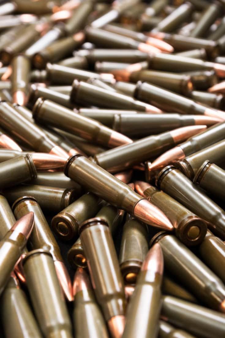 Stockpile of rifle ammunition