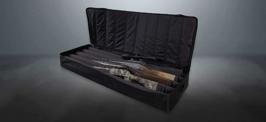guns in the box in dark background