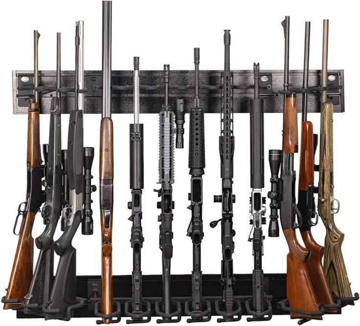 Hold Up Displays 12 Gun Rack Modern Black Steel Tactical Wall Mount for Rifles