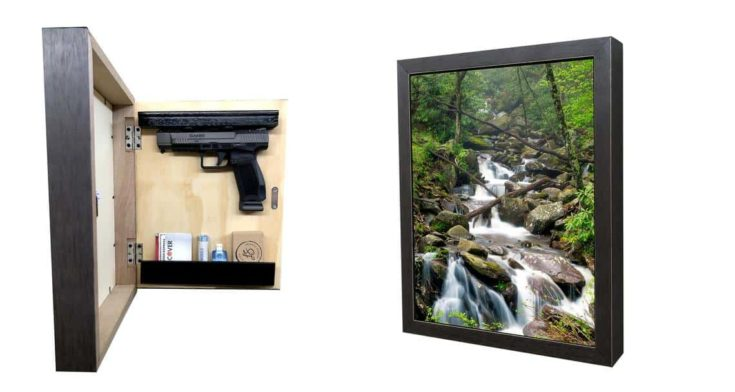Hidden gun storage picture frame, concealment compartment