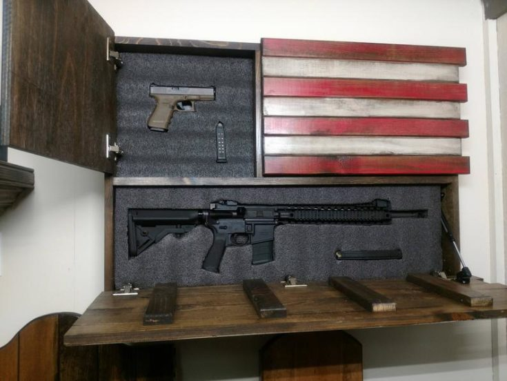 Hidden gun storage. Large American Flag