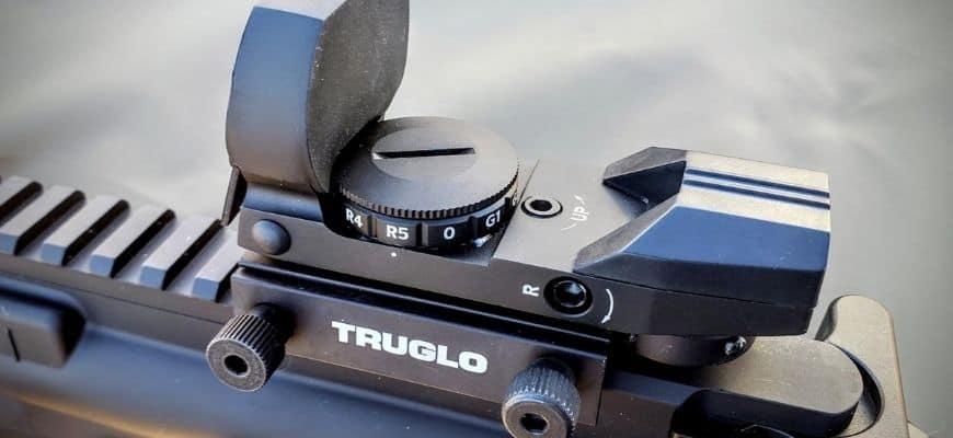 close up shot of Truglo Multi-Reticle Open Dot Sight
