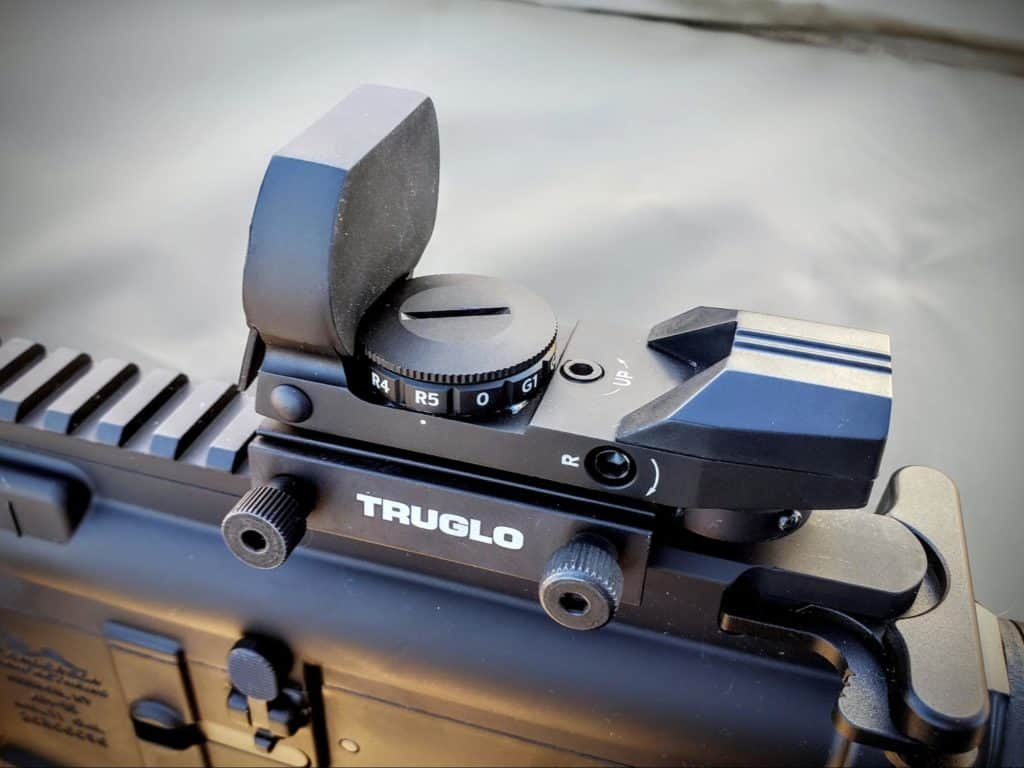 Truglo red dot attached to a rifle focus shot