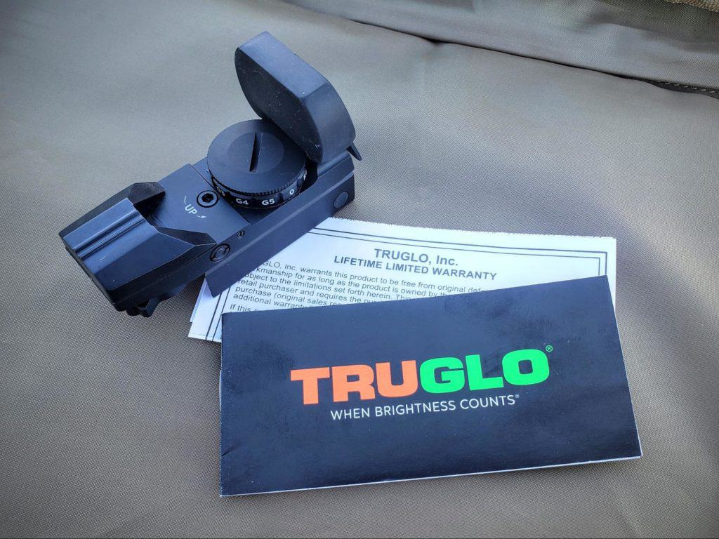 Truglo red dot sight with manual and warranty paper