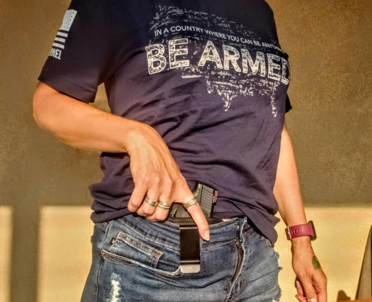 PG Smith and Wesson M&P Shield 9mm tucked inside jeans