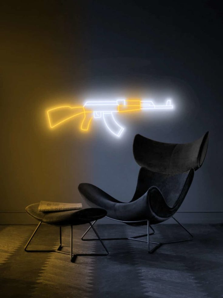 AK 47 gun - led neon custom sign