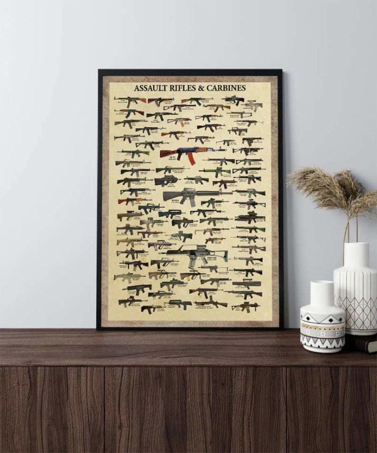 Assault Rifles and Carbines poster, Vintage Gun poster