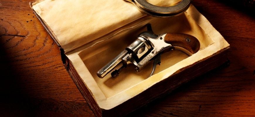 Vintage Handgun and Handcuffs