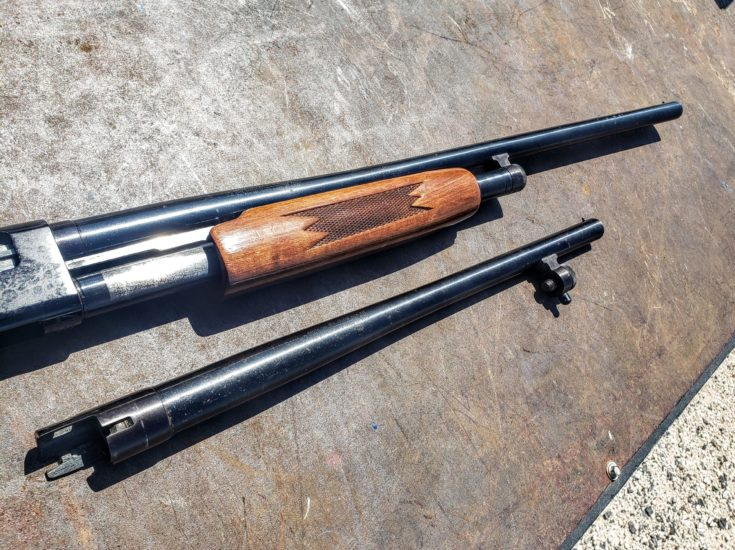 Changeable Barrels of Mossberg on the floor