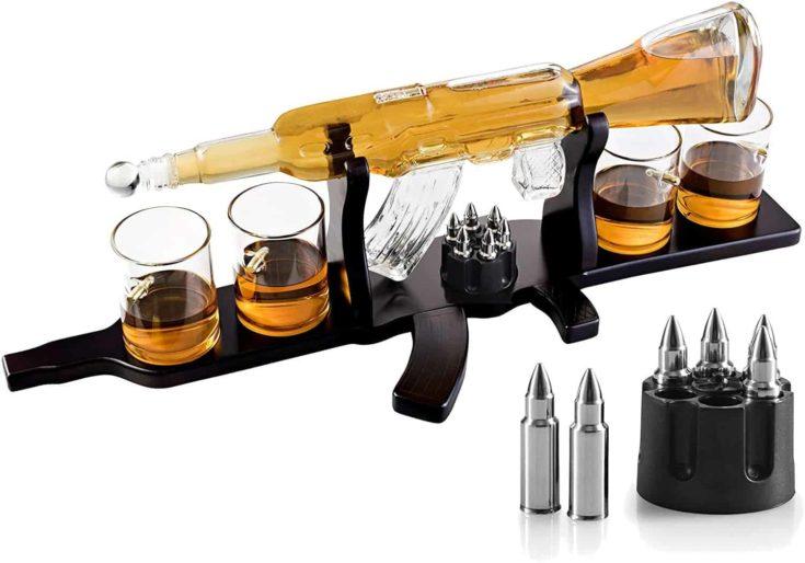 Emisha Gun 5 Piece Whiskey Decanter Set