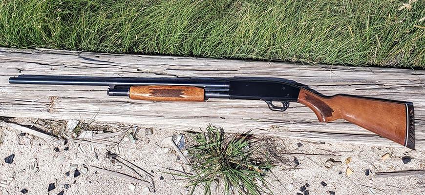 Mossberg 500 Series 12 Gauge lying on the wood