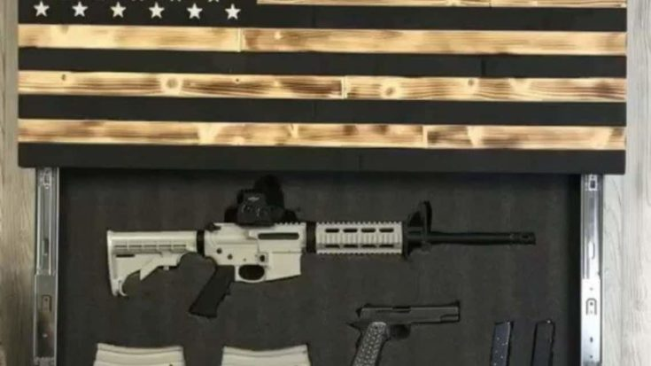 American flag design with a dropdown compartment for rifle
