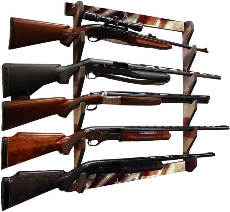 Rush Creek Creations Indoor 5 Rifle Shotgun Wall Storage Display Rack