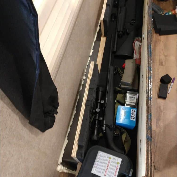Hidden storage for guns