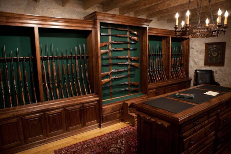gun cabinets at a gun store in Fredricksburg