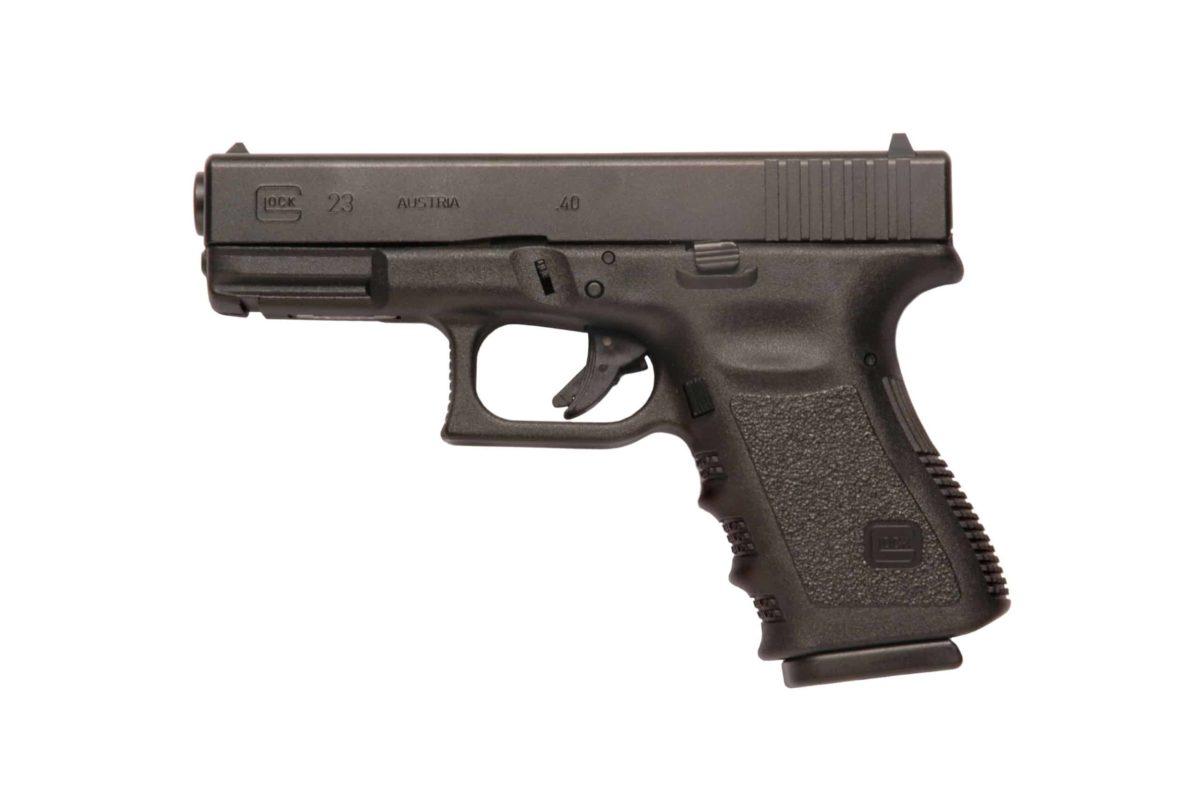 Glock 9mm handgun with stippled grip