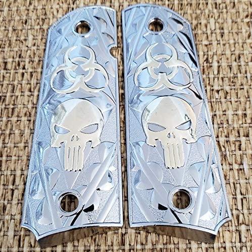 Tek_Tactical 1911 Grips Nickel Plated Grips skull design